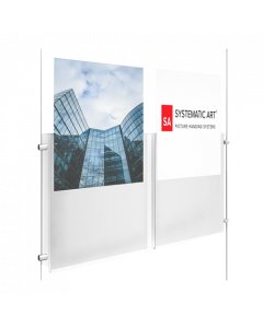 "Acrylic Portrait Dual Pocket Display This dual hanging acrylic sign holder is designed to display two 8-1/2"" X 11"" signs or graphics side by side. This acrylic display holder is hung with the use of side clamps that work with our tensioned displays, ca"